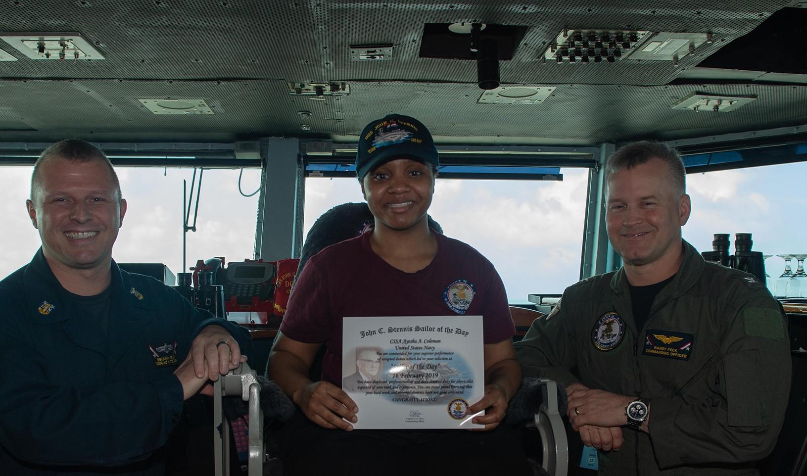 US Navy, sailor of the Day, Ayesha Coleman, USS John C. Stennis