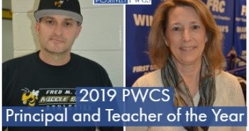 Teacher of the Year gail Drake, Principal of the Year Hamish Brewer, PWCS