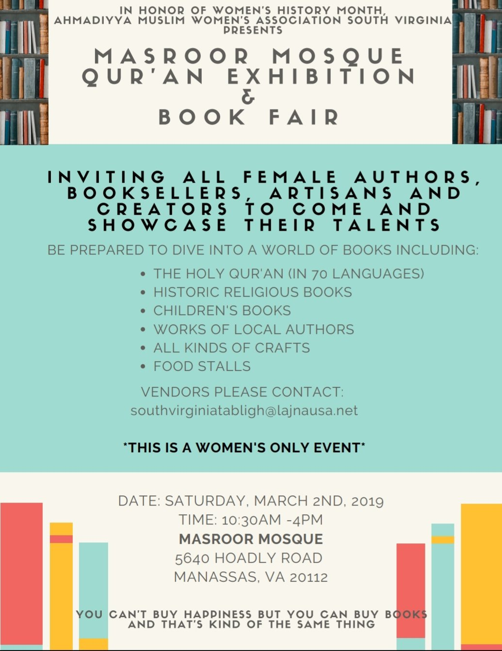 Masroor Mosque, womens history month, book fair