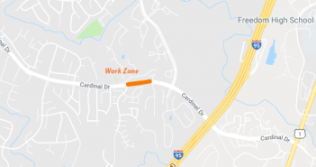 Cardinal Drive, work zone, traffic stoppages