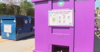 glass recycling, purple bins