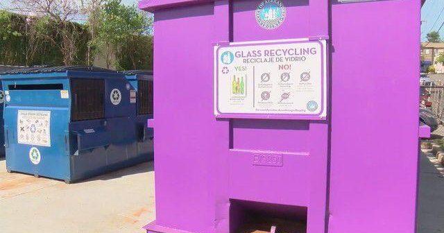 glass recycling, purple bins