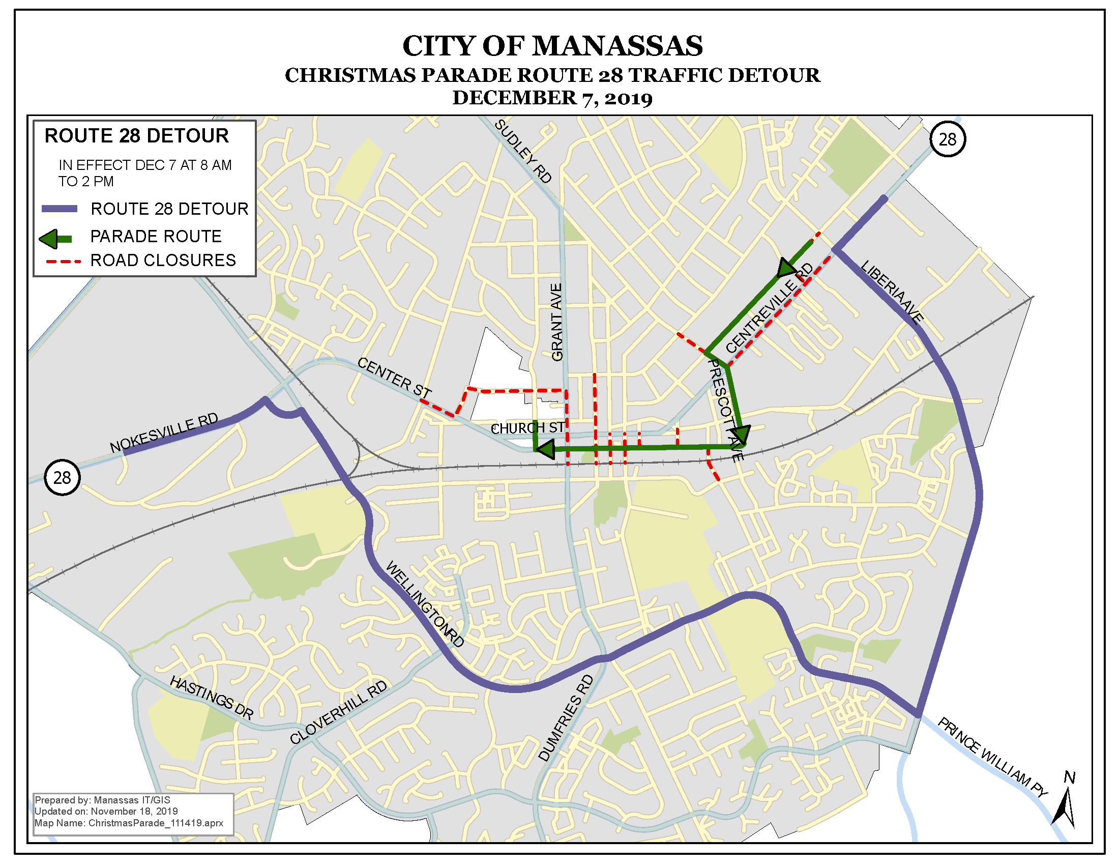 Road Closures Dec. 7 for Manassas Christmas Parade | Prince