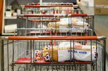 SERVE, shopping cart with bread, GIving Back 0820