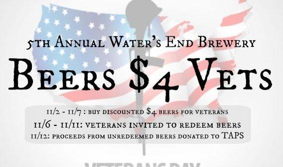 BEERS $4 Vets, Waters End Brewery