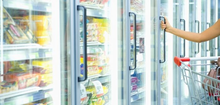 grocery freezer, frozen foods