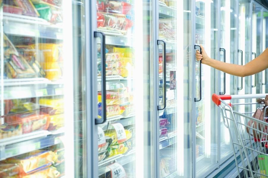 grocery freezer, frozen foods