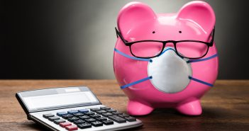 piggy bank with mask, your finances 1120